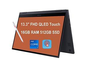 "Flagship 2021 Samsung Galaxy Book Flex2 Alpha 2 in 1 13 Laptop 13.3"" FHD QLED Touchscreen 11th Gen Intel Quad-Core i7-1165G7 16GB RAM 512GB SSD Backlit Keyboard USB-C WiFi6 Win10 Black + iCarp Pen"