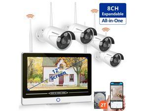 """?2019 New? All in One with 12"""" Monitor 1080P Security Camera System Wireless,SMONET 8-Channel Outdoor Home Camera System(2TB Hard Drive),4pcs 2.0MP(1080P) Waterproof Wireless IP Cameras,P2P,Free"""