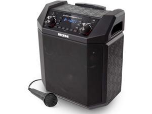 ION Audio Block Rocker Plus   100W Portable Speaker, Battery Powered with Bluetooth, Microphone & Cable, AM/FM Radio, Wheels & Telescopic Handle and USB Charging For Smartphones & Tablets