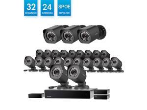 Zmodo 32 Channel 1080p HDMI NVR Simplified PoE Surveillance System 24x720p Weatherproof Security Camera, w/Repeater for Flexible Installation, 24/7 Recording & Remote Monitoring