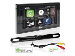 BOSS Audio BCPA9685RC Apple Carplay Android Auto Car Multimedia Player with Rearview Camera - Double-Din, 6.75 Inch LCD Touchscreen, Bluetooth, MP3 Player, USB Port, Am/FM Car Radio