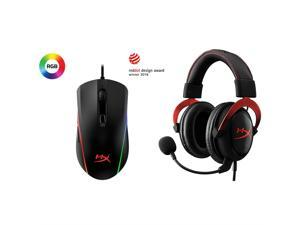 HyperX Cloud II - Gaming Headset, 7.1 Surround Sound, Memory Foam Ear Pads, Durable Aluminum Frame, Red and HyperX Pulsefire Surge - RGB Gaming Mouse, 360° RGB Light Effects, Macro Customization