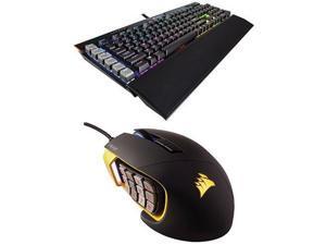 Corsair Gaming K95 RGB PLATINUM Mechanical Keyboard, Cherry MX Brown, Black (CH-9127012-NA) and Corsair Gaming SCIMITAR Pro RGB Gaming Mouse, Backlit RGB LED, 16000 DPI, Yellow Side Panel, Optical