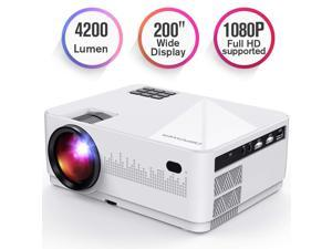 DBPOWER L21 LCD Video Projector, 4200L 1080P 1920x1080 Supported Full HD Mini Movie Projector with HDMIx2/USB/SD/AV Ports, Compatible with Smartphone/VGA/TV/PS4/DVD Ideal for Home Theater(Loud Sound)