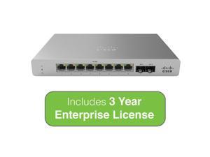 Cisco Meraki MS120-8 Cloud-Managed Compact Switch - 8x 1GbE Ports, 2x 1G (SFP) Uplink Interfaces - Incl. 3 Yr Enterprise License