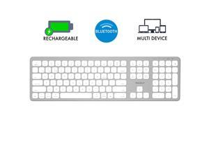 Macally Bluetooth Wireless Keyboard for Mac, iMac, Apple Mac Pro, Mac Mini, MacBook Pro/Air Laptop - Rechargeable Slim Full-Size Keyboard (BTWKEYMB)