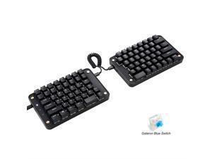 Koolertron Programmable Split Mechanical Keyboard, All 89 Keys Programmable Ergonomic Keypad with OEM Gateron Black Switch, 8 Macro Keys - [SMKD62] (OEM Black Switch (White Backlit))