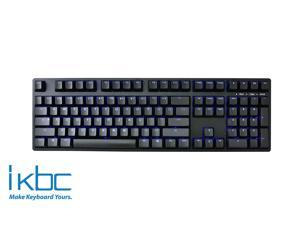 iKBC TD108 Blue Backlit LED Mechanical Keyboard with Cherry MX Blue Switch for Windows/Mac, Full Size Computer Keyboards, Black Case, Black PBT Doubleshot 108 Keycaps, ASIN/US QWERTY