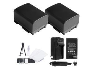 UltraPro BP-808/809 Battery 2-Pack Bundle with Rapid Travel Charger Accessory Kit for Select Canon Cameras Including FS10, FS100, FS11, FS20, FS200, FS21, FS22, FS30, FS300, and FS31