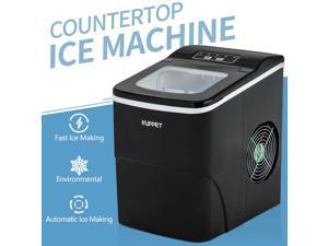 Portable Ice Maker, Countertop Ice Machine with Self-clean Function, Ready in 6min, 26 lbs/day Ice Cubes, Ice Scoop and Basket (Black)