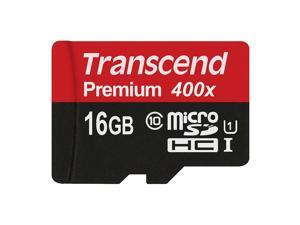 Transcend 16GB MicroSDHC Class 10 UHS-1 Memory Card with Adapter Up to 60MB/s (TS16GUSDU1P)
