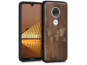 kwmobile Wooden Case Compatible with Motorola Moto G7 / Moto G7 Plus - TPU Bumper - Travel Outline Dark Brown