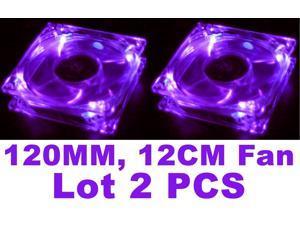 Lots 2 Purple Quad 4-LED Light Neon Clear 120mm PC Computer Case Cooling Fan Mod