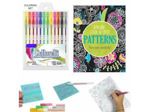 13 Pc Coloring Book Set Glitter Gel Pens Stress Relieving Mandala Drawing Adult