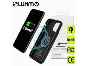 3500MAH BATTERY CASE WITH WIRELESS CHARGER FOR IPHONE 11 PRO RUBBER COATED BLACK