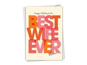 NobleWorks, Best Wife Ever - Happy Birthday Card for Wife - Loving Bday Message, Sweet Spouse Card for Birthdays C7350BDG