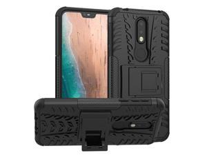 Nokia 7.1 Case, PUSHIMEI Air Cushion Heavy Duty Shockproof with Kickstand Hard PC Back Cover Soft TPU Dual Layer Protection Phone Stand Case Cover for Nokia 7.1 (Black Kickstand case)