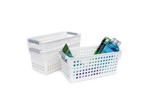 Honla Slim Plastic Storage Baskets Bins Organizer with Gray Handles,Set of 3,White