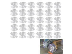 Luckycivia 30Pcs Double Sided Suction Cup, Suction Cups Without Hooks Sucker Pads for Glass Plastic, Transparent Glass Hooks Pad,30mm