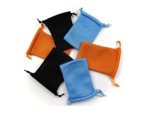 ALL in ONE 6pcs Nylon Mesh Drawstring Bag Pouches for Mini Stuff Cellphone Mp3 8x13cm (3x5 Inch) (Black+Orange+Blue)