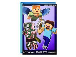 Hallmark Minecraft Birthday Card for Kids with Stickers (Party Mode)