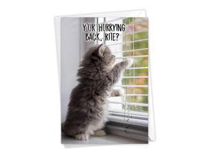 NobleWorks, Miss U Kitties - Adorable Miss You Greeting Card - Cute Thinking of You Notecard, Pet Cat Goodbye C3365HMYG