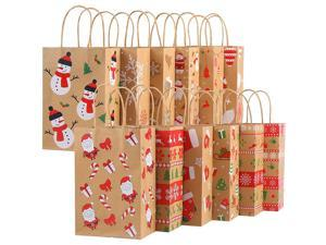 CCINEE Christmas Kraft Gift Bags,Xmas Assorted Paper Bags Bulk with Handles for Party Supplies,Pack of 24