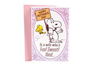 Hallmark Peanuts Mothers Day Card for Wife (Snoopy, Not Enough Words) (499MBC1163)