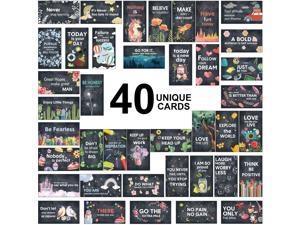 120 Pieces Inspirational Cards Mini Motivational Note Kindness Cards, Positive Gratitude Chalkboard Cards Appreciation Encouragement Card Set in 40 Motivational Quotes, Business Card Size