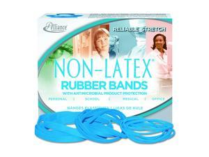 """Alliance Rubber 42199#19 Non-Latex Antimicrobial Rubber Bands, 1/4 lb Box Contains Approx. 360 Bands (3 1/2"""" x 1/16"""", Cyan Blue)"""