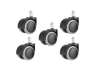 Copapa 5PCS 2 Inch 11mm Universal Standard Size Roller Office Chair Replacement Wheels, Floor Protecting PU Plastic Office Chair Caster Wheels Standard Stem Size - Black/Gray