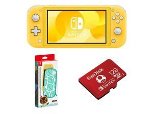 Nintendo Switch Lite Yellow w/ Animal Crossing Carrying Case  128GB Memory Card
