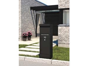Qualarc ALX -800-BK Allux Galvanized Steel Locking Mail Parcel Box, Black