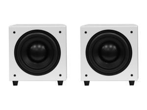"2 x PhaseTech 12"" White Wireless Subwoofer 900W Passive Radiator Home Audio"