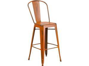 30 High Distressed Orange Metal Indoor-outdoor Barstool With Back Et-3534-30-
