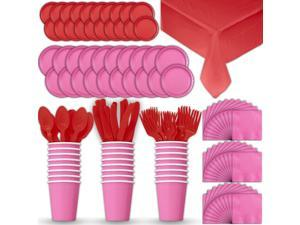 Paper Tableware Set for 24 - Hot Pink & Red - Dinner and Dessert Plates, Cups,