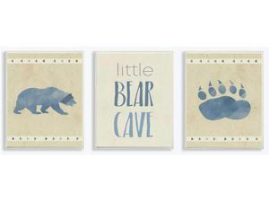 "3-Pc ""Little Bear Cave Blue Illustration"" Wall Plaque Art [ID 3619046]"