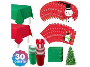 Snowy Friends Red and Green Party Kit for 30 Includes Tableware, Decorations