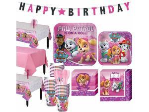 PAW Patrol Pink Tableware Party Supplies for 24 Guests Birthday Supplies Banner