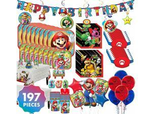 Super Mario Party Kit  For 16 197 pc w/ Tableware Decorations and Balloons