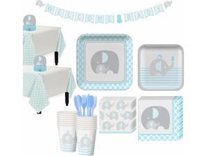 Blue Baby Elephant Baby Shower Party Supplies 32 Guest Tableware Decorations