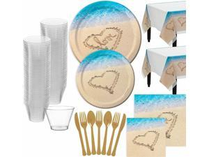 Beach Love Wedding Bridal Shower Tableware for 32 Guests, with Table Covers