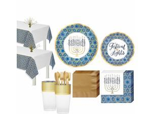 Festival of Lights Hanukkah Tableware Kit, 36 Guests, Plates, Cups, Tablecover