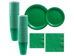Festive Green Paper Tableware Supplies for 50 Guests Plates Napkins