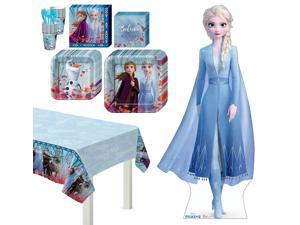 Frozen 2 Elsa Basic Tableware Kit and Supplies for 8 Guests, with Table Cover