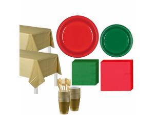 Red, Green and Gold Tableware Kit and Christmas Party Supplies for 20 Guests