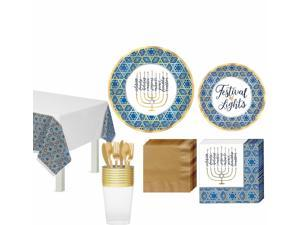 Festival of Lights Hanukkah Tableware Kit, 18 Guests, Plates, Cups, Tablecover