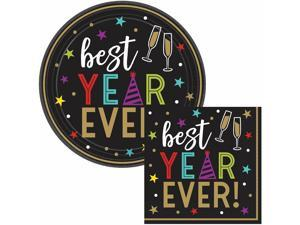 Best Year Ever Dessert Tableware Kit, 60 Guests, Party Supplies, Plates Napkins