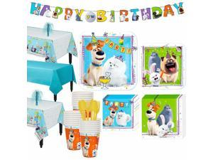 Party City Secret Life of Pets 2 Tableware Party Supplies for 24 Guests