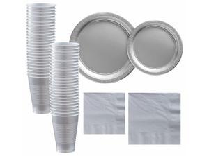 Silver Paper Tableware Supplies for 50 Guests Plates Napkins Cups